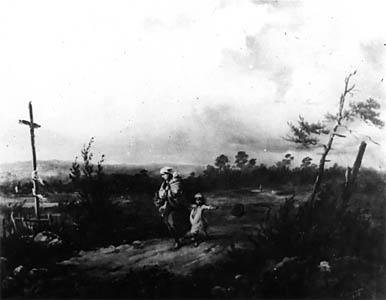FRANCISZEK KOSTRZEWSKI (1826-1911)  Running Away from a Thunderstorm, 1855  Oil on canvas, 50 x 64  Sign. b.r.: Kostrzewski | 1855 | dn. 28 stycznia  Owned by Stefan Rosiński in Warsaw.  Lost between 1939-1945.