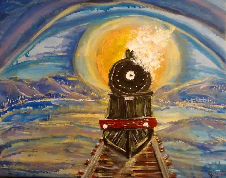 """Train the Eye"" 16 x 20"" canvas, acrylic #phatbroadart"