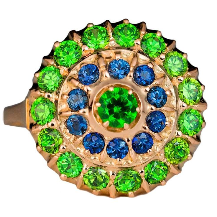 Russian Demantoid Sapphire Gold Cluster Ring | From a unique collection of vintage cluster rings at https://www.1stdibs.com/jewelry/rings/cluster-rings/