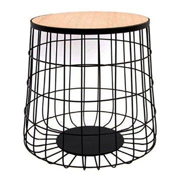 Indhouse - Mesa auxiliar nórdica en metal y madera