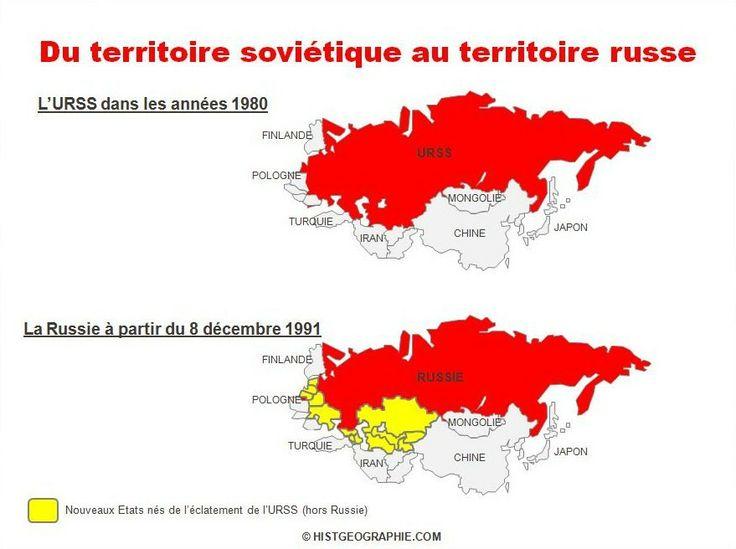 Evolution du territoire soviétique dans les années 1980 au territoire russe le 8 décembre 1991. Source: © HISTGEOGRAPHIE.COM
