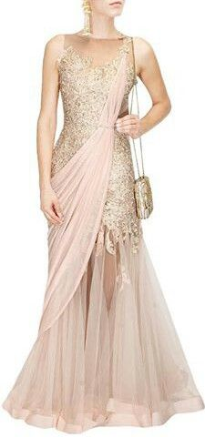 Champagne and peach saree gown