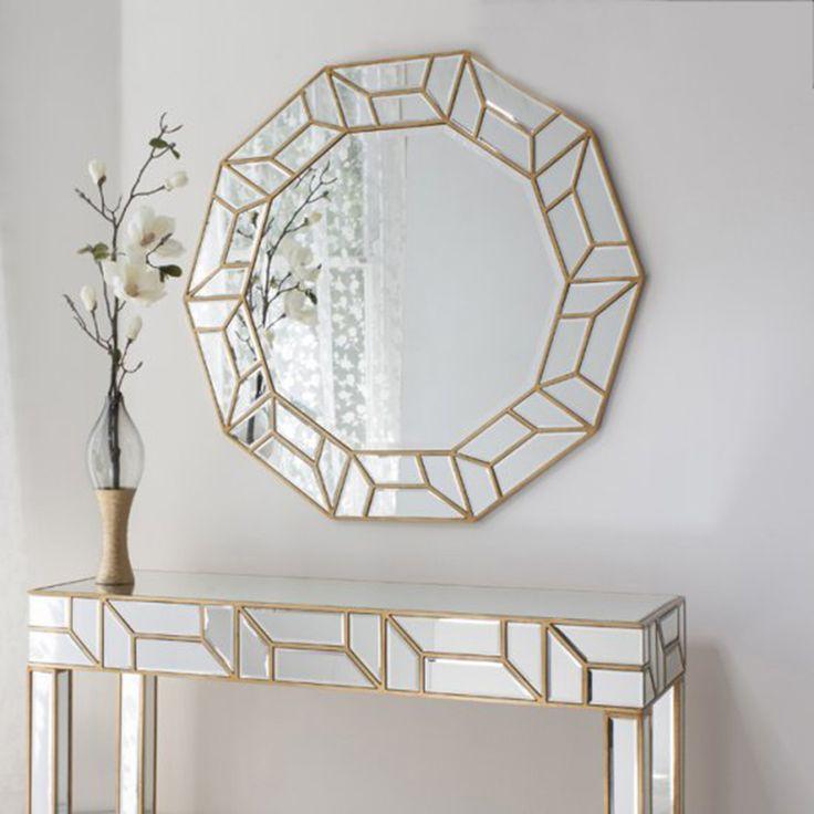 Celeste round mirror with gold trim art deco mirror