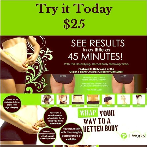 It Works Stomach Wraps Amazing products. I use these myself along with my mom and many others close to me. I love how they tone my stomach and improve my skin. Purchase single wrap and cover with Saran Wrap, gauze, or just a tshirt. Other