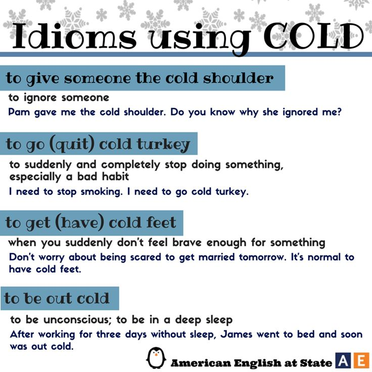 "It's cold here in Washington, D.C. today! Here are a few idioms with the word ""cold"": to give someone the cold shoulder, to go cold turkey, to get cold feet, and to be out cold. Check out our #AmericanEnglish graphic to learn the meanings of these #idioms. What other idioms with the word ""cold"" do you know? #WeLoveAE"