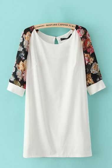 Floral Print Short Sleeves O-neck White Shift Dress
