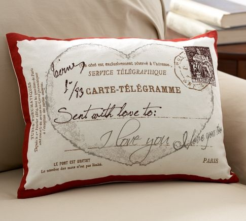 love postcard boudoir pillow cover from pottery barn
