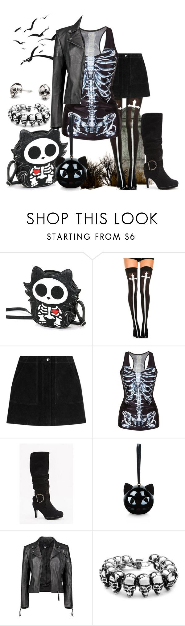 """Creepy Cute"" by chicken-nuggs ❤ liked on Polyvore featuring Chicnova Fashion, rag & bone, Lulu Guinness, Boohoo and Kasun"