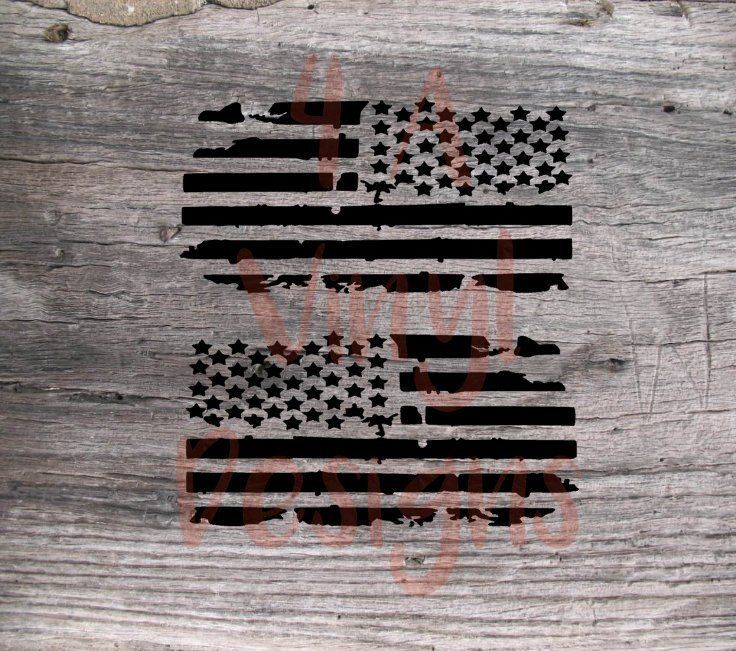 2x Subdued Distressed American Flag Decal USA Mirrored
