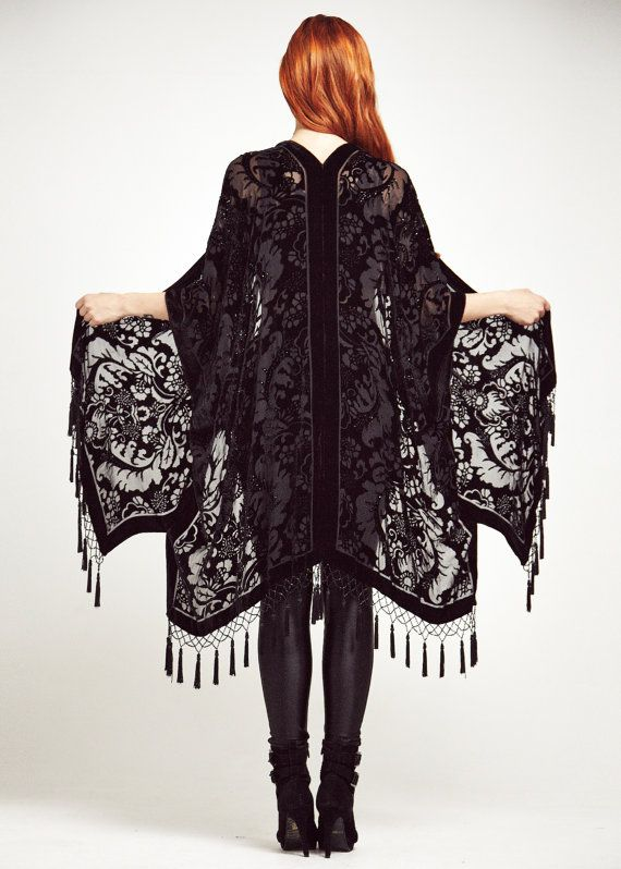 RESERVED for Sofie Lewis Velvet Fringe Kimono Black by shevamps