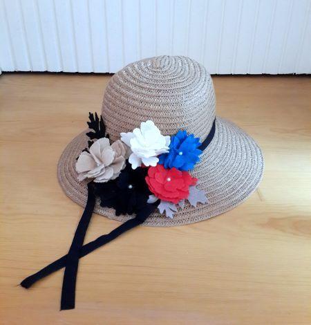 Renkli Çiçekli, Yapraklı Hasır Şapka