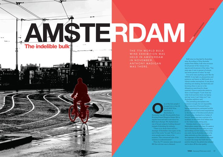 WBM Magazine, January/February 2016 edition.  Amsterdam spotlight spread.
