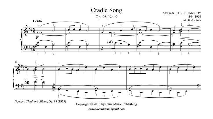 Grechaninov : Cradle Song - Lullaby, Op. 98, No. 9 www.sheetmusic2print.com/Grechaninov/Cradle-Song-98-9.aspx