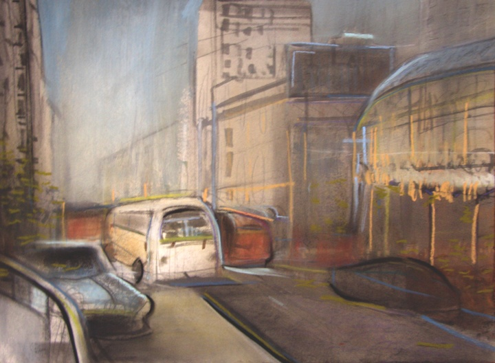 bus and railing  pastel  studio Ridyard