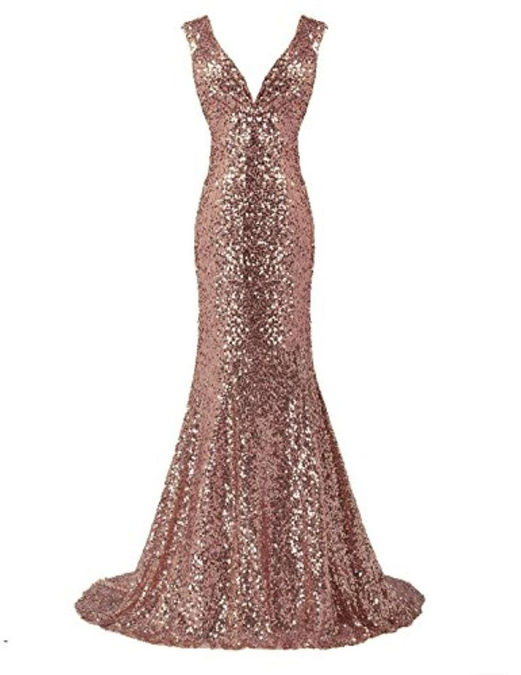 Belle House Rose Gold Sequin Backless Wedding Guest Dress Sparkle Prom Gown - Brought to you by Avarsha.com