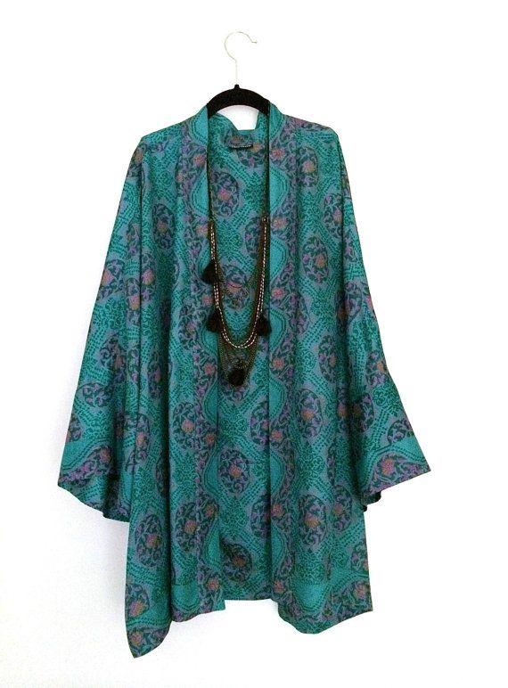 Teal silk kimono  Bibi Luxe Etsy