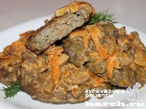 Печеночники с рисом под грибным соусом, headline vtorye blyuda blyuda iz myasnyx subproduktov