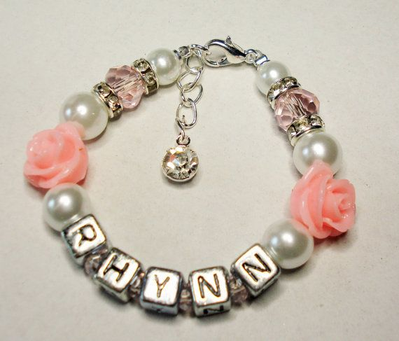 Personalized Name Girls Bracelet Rhinestone and by Griseldis