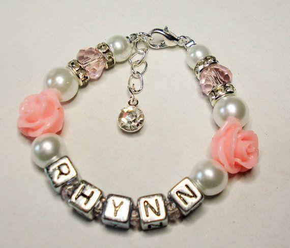 Personalized Name Girls Bracelet Rhinestone and by Griseldis
