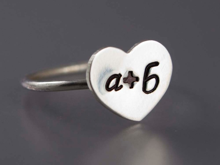 Sweet Heart Couple Initial Ring in Sterling by LichenAndLychee