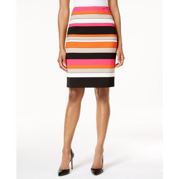 Kasper Striped Pencil Skirt ($79) ❤ liked on Polyvore featuring skirts, pink perfection, multi color skirt, white knee length pencil skirt, stripe pencil skirt, white knee length skirt and stripe skirt