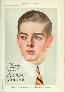 The Arrow man and his shirts and collars. The debate for soft vs stiff collars battled  during the 1920's. The soft collar eventually won. http://www.vintagedancer.com/1920s/1920s-mens-fashion-history-begins