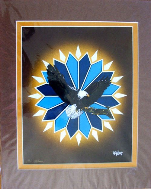 """""""Sacred Landing"""" A colorful double matted Native American art print, ready for framing. Measures 11x14"""""""" Artist TJ Gibson Chippewa / Ottawa Comes with certificate of authenticity Acrylics $31.25 #artwork #nativeamerican #eagle"""