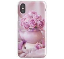 iPhone Case/Skin.  #roses #pinkroses #lavenderpinkroses #pinkrosesstillliferoses #stillliferoses #rosesandteapot #teapotart #teapot #teatime #holidaygifts #floralhomedecor #victoriamagazinestyle #romantichomesstyle #floralhappiness  #floralloveliness #sandrafoster