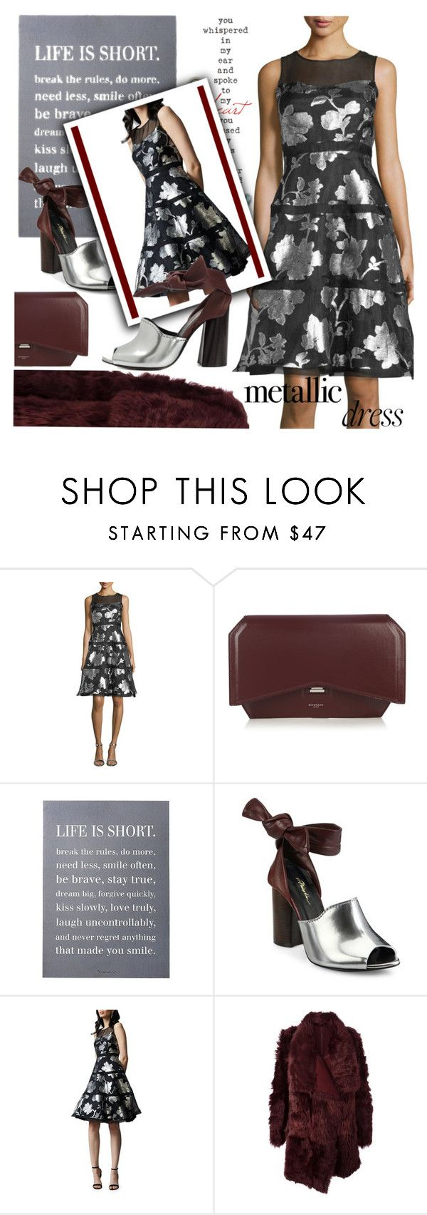 """""""Metallic Dress"""" by samketina ❤ liked on Polyvore featuring Kay Unger New York, Givenchy, 3R Studios, 3.1 Phillip Lim, Meteo by Yves Salomon and metallicdress"""