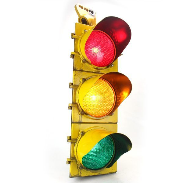 Econolite 3 Way Traffic Light With 8 Glass Lenses Vintage Findz Traffic Light Traffic Signal Light