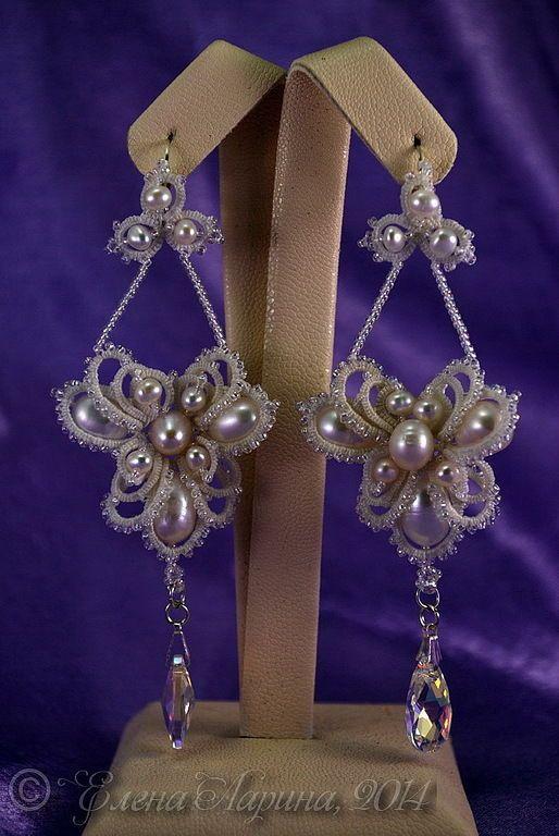 """Купить Свадебное украшение, серьги для невесты с жемчугом """"Грёзы"""" - белый, украшение, свадебное украшение"""