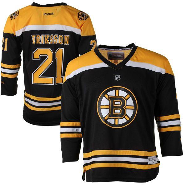 ... loui eriksson boston bruins reebok youth replica player hockey jersey  black