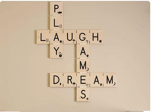 DIY Scrabble Tile Wall ArtWall Art, Wall Decor, Wallart, Games Room, Scrabble Art, Kids Room, Scrabble Tile, Baby Room, Scrabble Letters