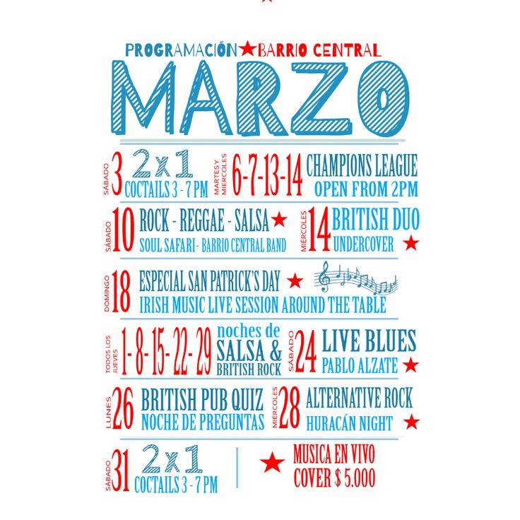 Ya estamos listos para empezar Marzo con toda.  En #BarrioCentralCafeBar queremos garantizarte un buen ambiente con + noches felices.  Prográmate con nosotros!!! Salud!  ✔ List of events in #BarrioCentral #CafeBar during the month of March!!!   #BC #Cafe #Bar #Pub #Musicaenvivo #Livemusic #events #planner #calendar #calendario #March #Marzo #schedule #StPatricksDay #ChampionsLeague #Football #Futbol #HappyHour #Quiz #BarLocal #BebeLocal #La70 #UPB #Laureles #SanJoaquin #Medellin