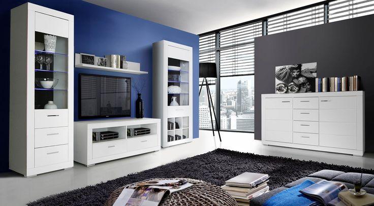 Pokój dzienny SNOW - białe meble do salonu, meble FORTE