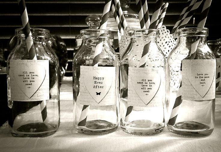 Bottles for milk and cookies bar.