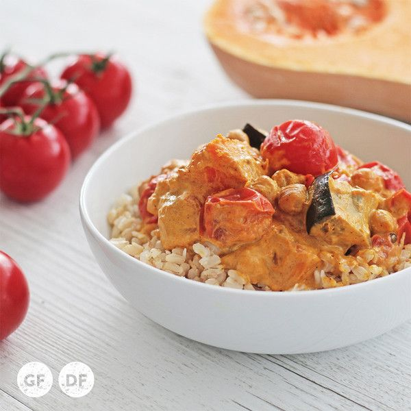 YouFoodz | Pumpkin Curry with Toasted Coconut Rice $9.95 | Creamy Thai-style yellow curry, alongside our very own brown rice + toasted coconut combo, with a  coconutty sauce through the likes of pumpkin, chickpeas, eggplant and cherry tomatoes | #Youfoodz #HomeDelivery #YoullNeverEatFrozenAgain
