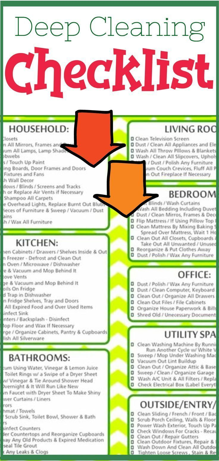 Deep Cleaning Checklist Free Printable Room By Room Deep Cleaning Checklist In 2020 Deep Cleaning Checklist Cleaning Checklist Deep Cleaning