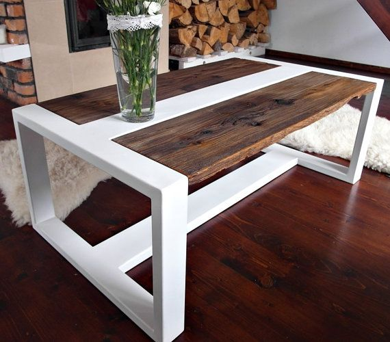 Design Modern Handmade white Steel & Pine Coffee Table reclaimed wood Loft style