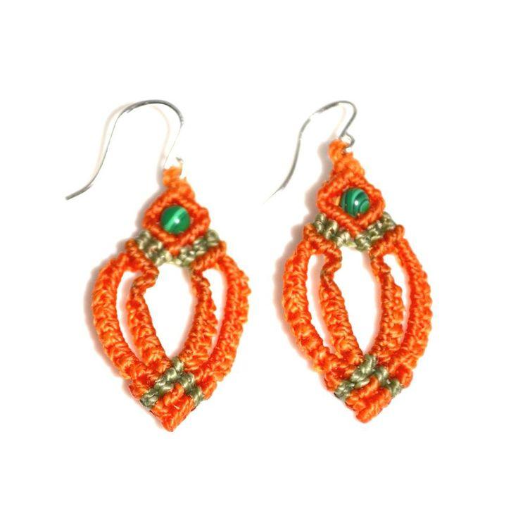 Macrame earrings with Malachite stones by designer Coco Paniora Salinas of Rumi Sumaq