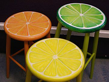 I love these citrus stools. These are up-cycled but simple wooden stools aren't that expensive either. The text is in Swedish, but I bet you'd understand the directions using Google translate.