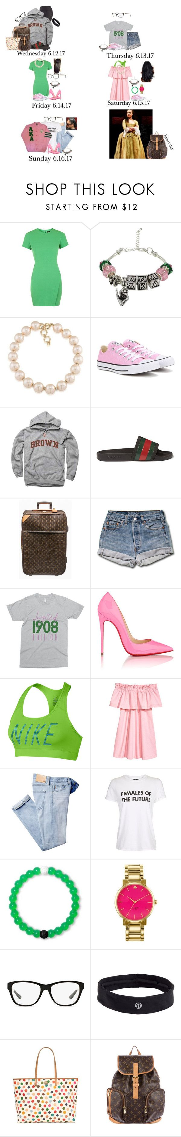 """""""Wednesday-Sunday// Alpha kappa Alpha international conference and leadership seminar"""" by those-families ❤ liked on Polyvore featuring Topshop, Carolee, Converse, Gucci, Louis Vuitton, Christian Louboutin, NIKE, Lokai, Kate Spade and Ralph Lauren"""
