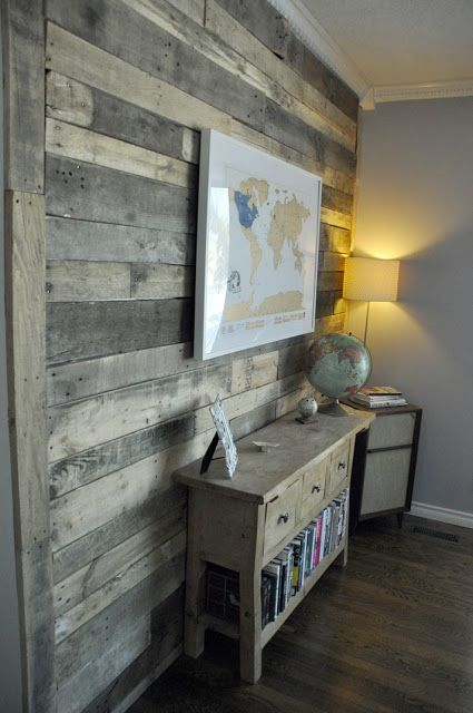 artisan des arts: DIY Pallet wall for $0! Accent wall in bathroom, this one has the instructions