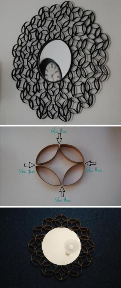 How To Make Roll Round Mirror Frame from Paper