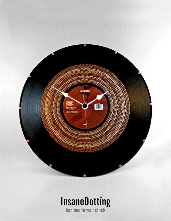 Only Brown Vinyl Clock Hand Painted Upcycled by InsaneDotting