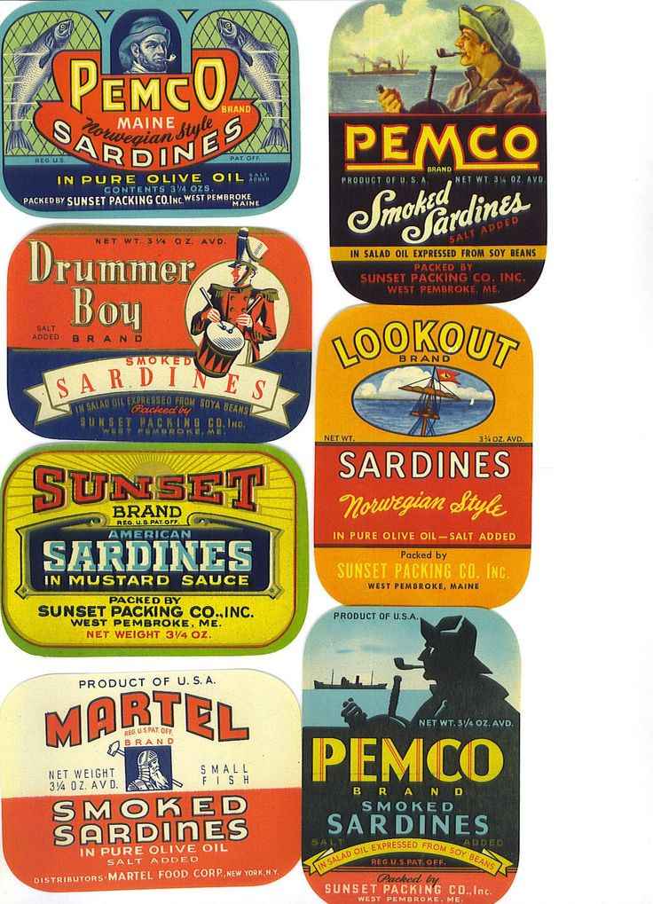 10 OLD Vintage Sardine Labels from Maine--Great Graphics--Scrapbooking and…