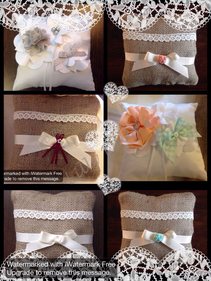 Handmade bespoke ring bearers cushions from Lilly Dilly's #wedding #ring #cushion #bespoke #luxury #hessian #lace #flowers #bow #satin