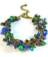 #Bluegreenbracelet, #Sapphire, #crochet, handmadejewelry
