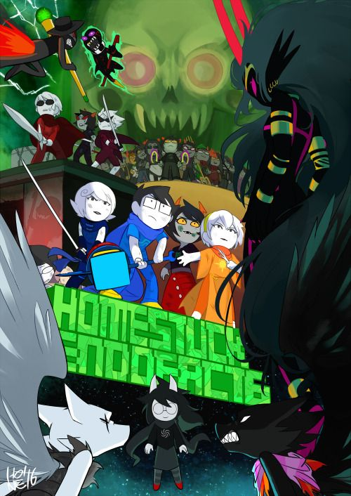 curlicuecal:  catflowerqueen:  honesk1:  I did part of last shots for Homestuck end of act 6!It was a great honor and really happy to work on this project!!http://www.mspaintadventures.com/collide.html アメリカで大人気のウェブコミックHomestuckのラストバトルのカットをいくつか担当させて頂きました。EOA6では他にも何名ものアーティストが関わっていて最高にかっこいい出来になっています!!大好きなホームスタックのラストを描かせて頂くことができ夢のようでした!  This is so cool…! …I do have to wonder where Jake is, though.  okay this was really bugging me because I found the gamzee fridge and the caliborn reflection so…