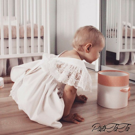 Baby girl dress LACE white bohemian boho dress by PataTaTaDress